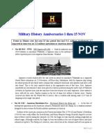 Military History Anniversaries 1101 Thru 111520