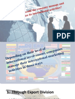 How should the company manage and organize its international activities