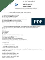 12ª LISTA EXERCICIOS DE PORTUGUÊS 6ANO