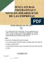 NOMENCLATURAS ADMINISTRATIVAS Y NIVELES JERARQUICOS DE LAS EMPRESAS