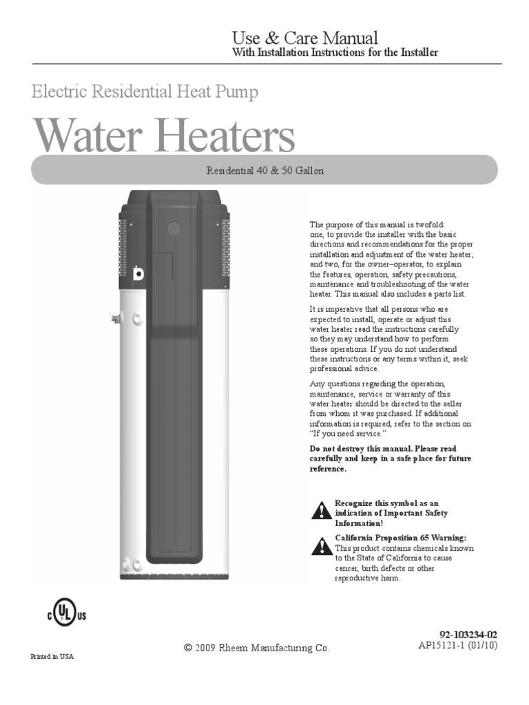 Rheem Manual Water Heating Heat Pump Electric Heater Troubleshooting