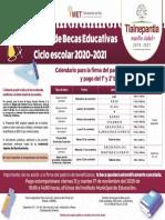 Calendario de pagos Becas Tlalnepantla ciclo escolar 2020-2021