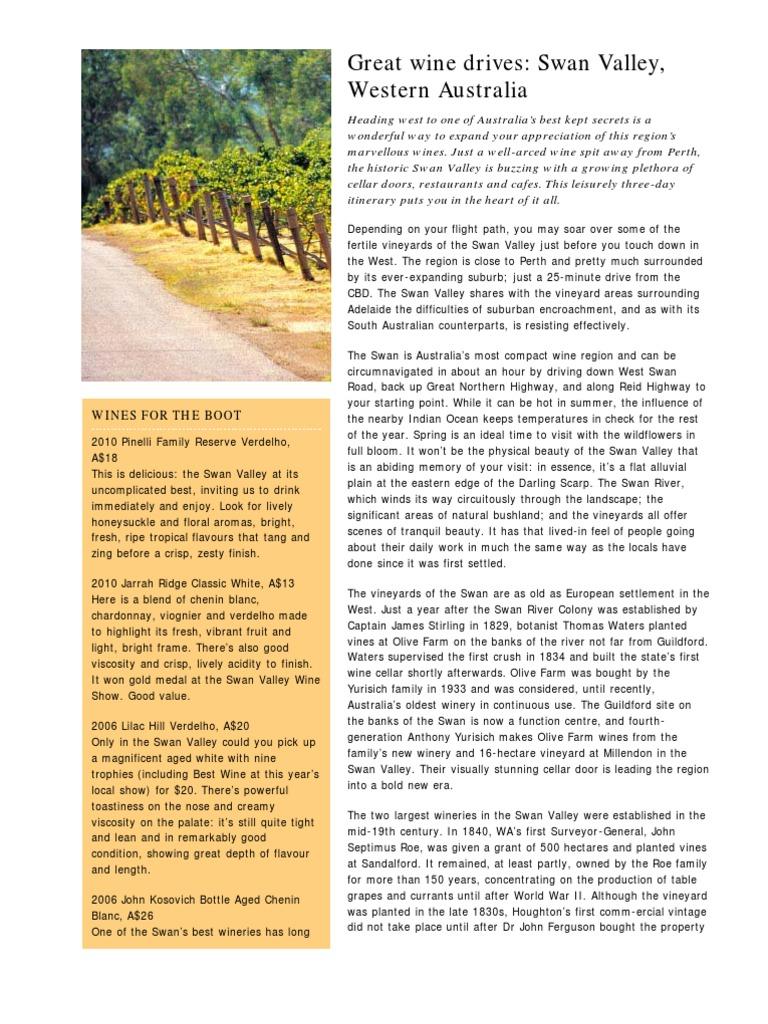 Great Wine Drives Swan Valleywestern Australia Winery Ecerr Cream Dr Gold