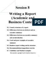 Writing a report in a business context