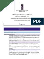 PROGRAMA XIX Congreso Nacional de Filosofía