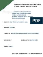 PROYECTO LA RELACION DEL ALGEBRA EN PROYECTO ECOLOGICO