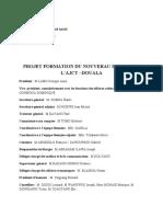 PROJET FORMATION DU NOUVERAU BUREAU DE  L