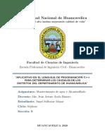 APLICATIVO EN EL LENGUAJE DE PROGRAMACIÓN C++ PARA DETERMINAR LOS CAUDALES DE LOS DISTRITOS DEL DEPARTAMENTO DE HUANCAVELICA