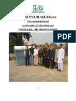 Reap-GTZ Solar Water Heating Training in Lahore
