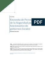 Encuesta de Percepción de la Seguridad para funcionarios de gobiernos locales - Encuesta Municipios Resultados