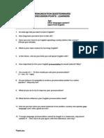 Pronunciation Questionnaires - Combined 2011