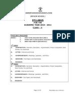 SYLLABUS-CLASS X-2010-2011