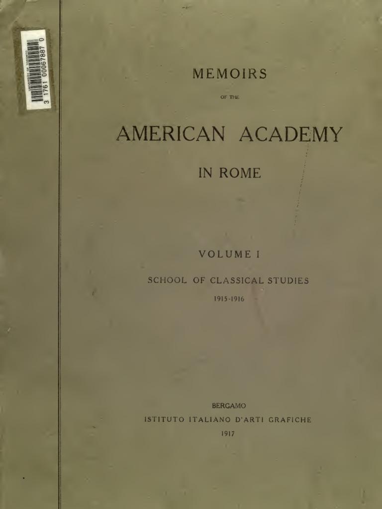 Memoirs Of American Academy In Rome Vol I 1915 1916 Janus  # Muebles Quivir Pibo
