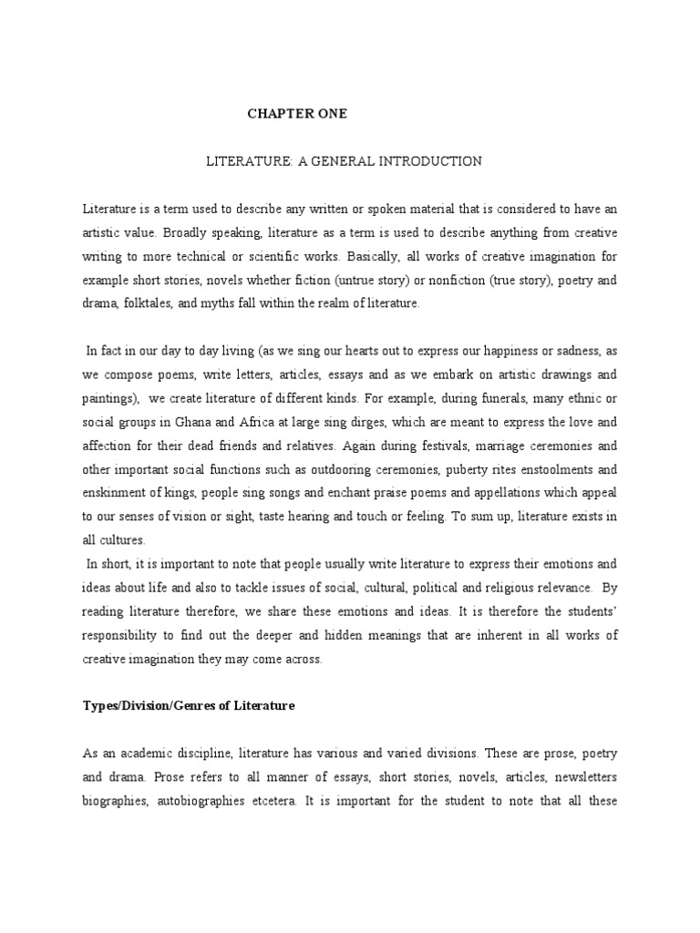 Chapter One Of Rkhagans Literature In English For Schools And
