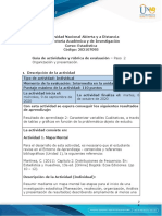 Guía de Actividades y Rúbrica de Evaluación - Unidad 1 - Paso 2 -Organizaciòn y Presentaciòn