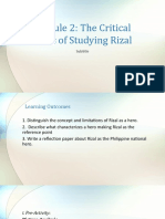 Module 2 the Critical Basis of Studying Rizal