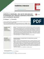 Antibióticosnebulizados.¿Unaopciónadecuadaparaeltratamientodelainfecciónrespiratoriarelacionadaconlaventilaciónmecánica