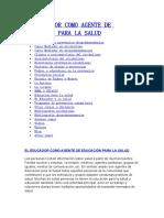 EL EDUCADOR COMO AGENTE DE EDUCACIÓN PARA LA SALUD