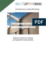 Pfetten Riegel Traufen BTSSB Lieferprogramm-Belastungstabellen