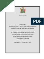 Presidential Speech - Launch of Sndp 2011 - 2015