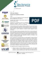 CARTA A PRESIDENTE DE LA REPÚBLICA SOLICITANDO MEDIDAS DE APOYO FINANCIERO A COLEGIOS PRIVADOS EN ÉPOCA DE EMERGENCIA POR COVID-19. 30MARZO2020.