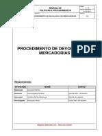 PROCEDIMENTO DE DEVOLUÇÃO DE MERCADORIAS
