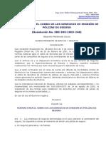 28.- NORMAS COBRO DERECHOS EMISIÓN PÓLIZAS DE SEGUROS