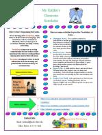 parent newsletter vocab