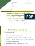 La Petite Irrigation Au Burkina Faso Enjeux Et Perspectives