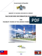 BACKGROUND INFORMATION DOCUMENT FOR FEASIBILITY STUDIES OF THE LUBHUKU THERMAL POWER PLANT