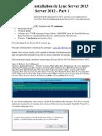 Installation de Lync Server 2013 sur Windows Server 2012