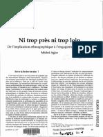 Michel Agier - Ni trop pret ni trop loin