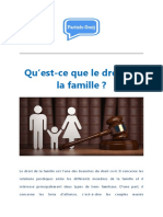 Qu'Est-ce Que Le Droit de La Famille