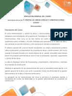 Presentación del curso Administración y control de obras y construcciones