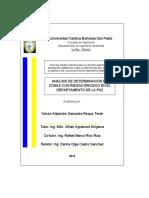 Análisis de Determinación de Zonas con Riesgo Erosivo en el departamento de La Paz