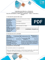 Guía de actividades y rúbrica de evaluación - Tarea 4 - Dirección y Control