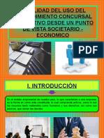 VIABILIDAD DEL USO DEL PROCEDIMIENTO CONCURSAL PREVENTIVO DESDE