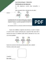 Síntese de Aprendizagem multiplicação por dois algarismos