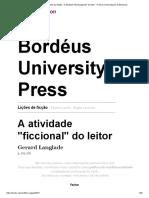 Os Ensinamentos Da Ficção - A Atividade _ficcionalizante_ Do Leitor - Presses Universitaires de Bordeaux
