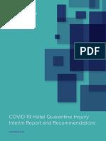 COVID-19 Hotel Quarantine Inquiry Interim Report and Recommendations
