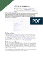CFR(Code of federal regulation)Code Link