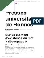 Le découpage au cinéma - Sur un moment d'existence du mot «découpage» - Presses universitaires de Rennes