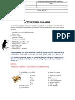 APTITUD VERBAL ANALOGÍAS GUIA 11