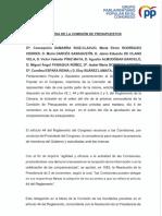 Escrito GPP Comisioìn Presupuestos