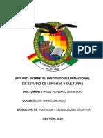 ENSAYO SOBRE INSTITUTO PLURINACIONAL DE ESTUDIO DE LENGUAS Y CULTURAS