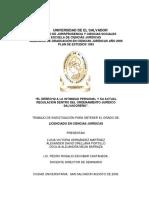 EL DERECHO A LA INTIMIDAD PERSONAL Y SU ACTUAL REGULACIÓN DENTRO DEL ORDENAMIENTO JURÍDICO SALVADOREÑO