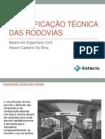 CLASSIFICAÇÃO TÉCNICA DAS RODOVIAS