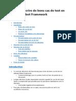 Comment écrire de bons cas de test en utilisant Robot Framework