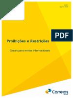 Proibicoes e restricoes gerais para envios internacionais