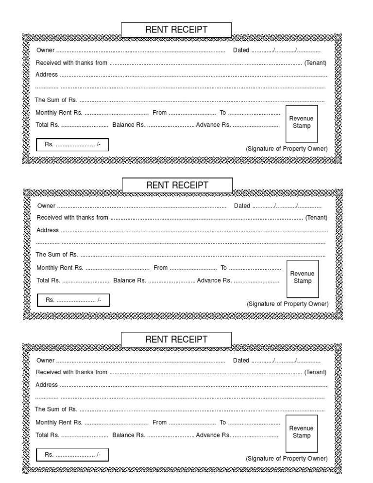 Rent Receipt – Rent Receipt Template India